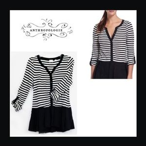 Anthropologie Striped Peplum Rolled Sleeve Top XS